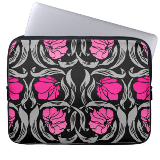 William Morris Pimpernel, Fuchsia Pink and Black Laptop Sleeve