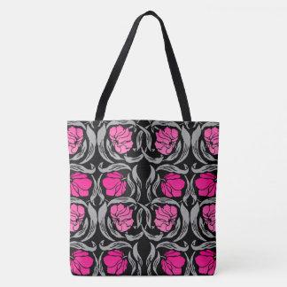 William Morris Pimpernel, Fuchsia Pink and Black Tote Bag