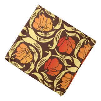 William Morris Pimpernel, Rust Orange and Brown Bandana