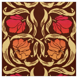 William Morris Pimpernel, Rust Orange and Brown Fabric