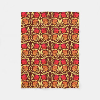 William Morris Pimpernel, Rust Orange and Brown Fleece Blanket