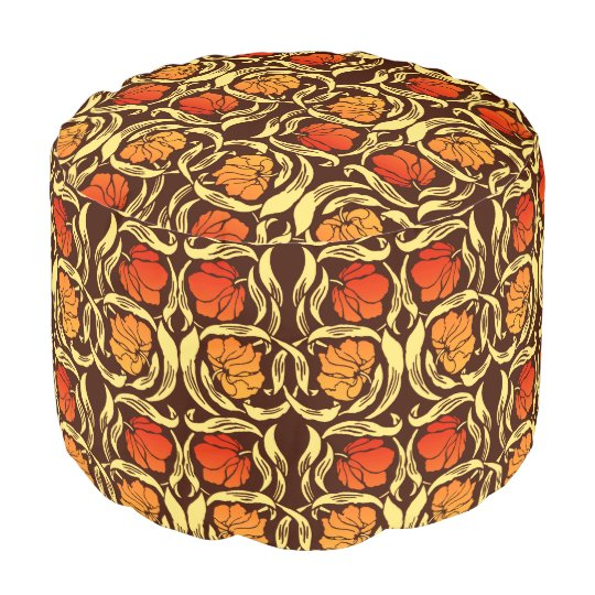 William Morris Pimpernel, Rust Orange and Brown Pouf