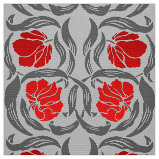 William Morris Pimpernel, Silver Gray and Red Fabric