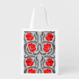 William Morris Pimpernel, Silver Gray and Red Reusable Grocery Bag