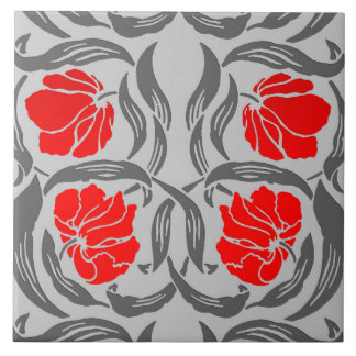 William Morris Pimpernel, Silver Gray and Red Tile