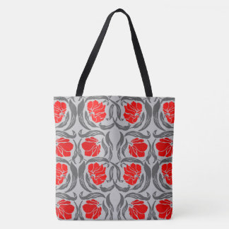 William Morris Pimpernel, Silver Gray and Red Tote Bag