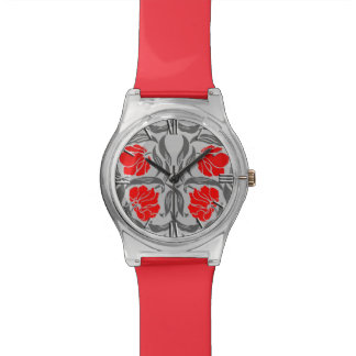 William Morris Pimpernel, Silver Gray and Red Wristwatch