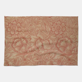 William Morris Pink and Poppy Textile Pattern Towels