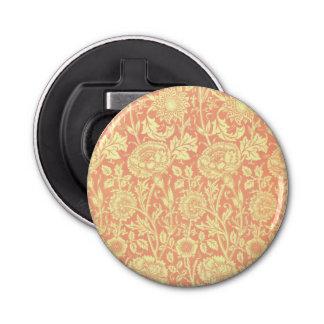 William Morris Pink and Rose Design Button Bottle Opener