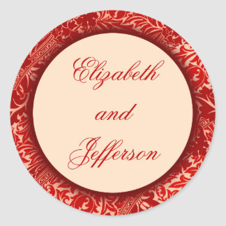 William Morris Red Leaves Monogrammed Sticker