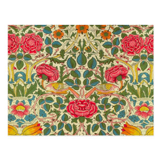 William Morris Rose Floral Vintage Postcard