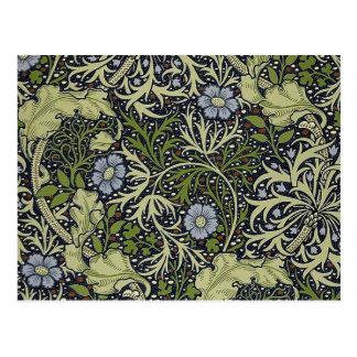 William Morris Seaweed Pattern Floral Vintage Art Postcard