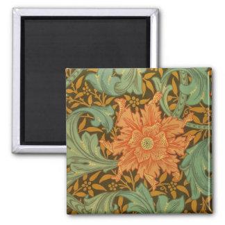William Morris Single Stem Pattern Art Nouveau Square Magnet