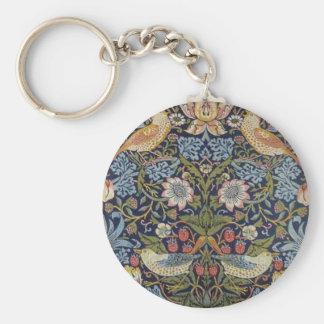 William Morris Strawberry Thief Design 1883 Keychain