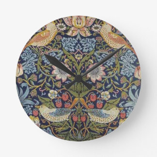 William Morris Strawberry Thief Design 1883 Round Clock