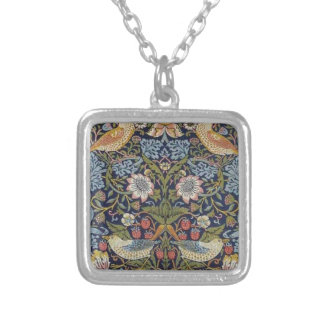William Morris Strawberry Thief Design 1883 Silver Plated Necklace