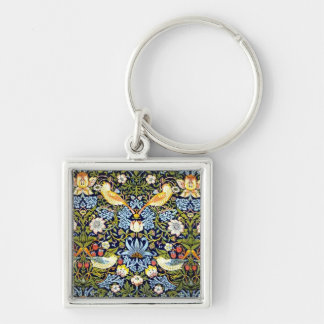William Morris - Strawberry Thief pattern Silver-Colored Square Keychain