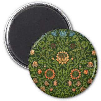 William Morris Tapestry Rug Red Green Carpet Asian 2 Inch Round Magnet