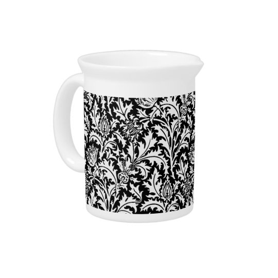William Morris Thistle Damask, Black and White Drink Pitcher