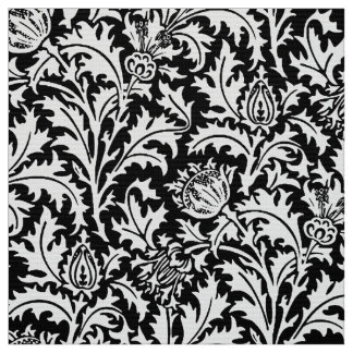 William Morris Thistle Damask, Black and White Fabric