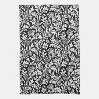 William Morris Thistle Damask, Black and White Kitchen Towel