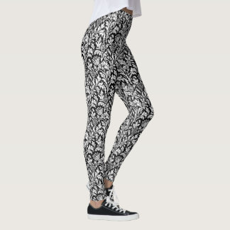 William Morris Thistle Damask, Black and White Leggings