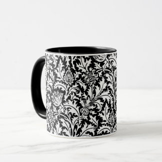 William Morris Thistle Damask, Black and  White Mug