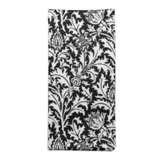 William Morris Thistle Damask, Black and White Napkin