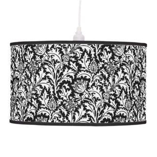 William Morris Thistle Damask, Black and White Pendant Lamp
