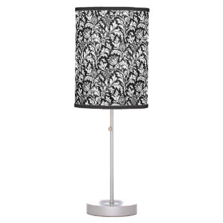 William Morris Thistle Damask, Black and White Table Lamp