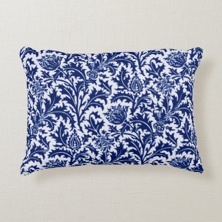 William Morris Thistle Damask, Cobalt Blue & White Accent Pillow