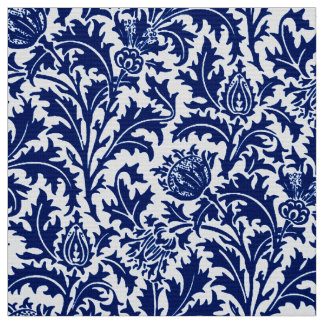 William Morris Thistle Damask, Cobalt Blue & White Fabric