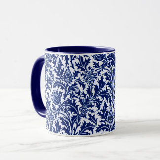 William Morris Thistle Damask, Cobalt Blue & White Mug