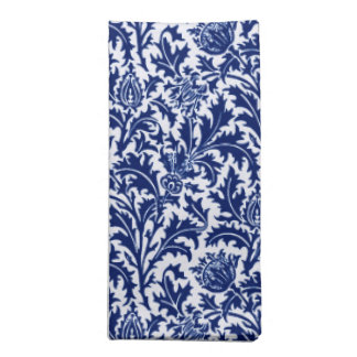 William Morris Thistle Damask, Cobalt Blue & White Napkin
