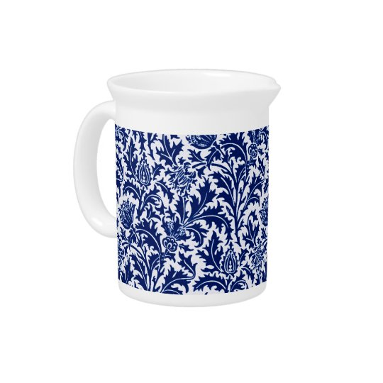 William Morris Thistle Damask, Cobalt Blue & White Pitcher