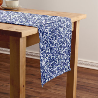 William Morris Thistle Damask, Cobalt Blue & White Short Table Runner