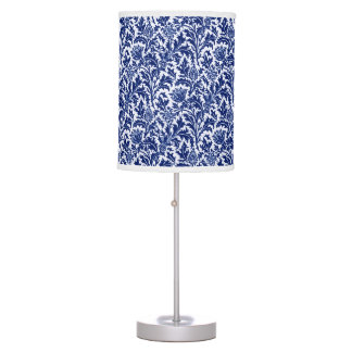 William Morris Thistle Damask, Cobalt Blue & White Table Lamps