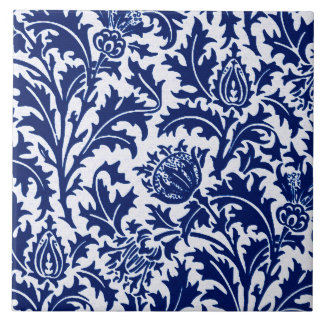 William Morris Thistle Damask, Cobalt Blue & White Tile