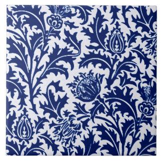 William Morris Thistle Damask, Cobalt Blue & White Tiles