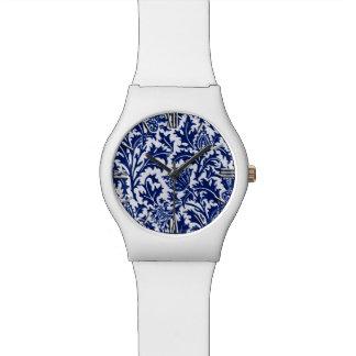 William Morris Thistle Damask, Cobalt Blue & White Wristwatch