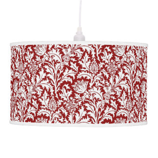 William Morris Thistle Damask, Dark Red & White Ceiling Lamp