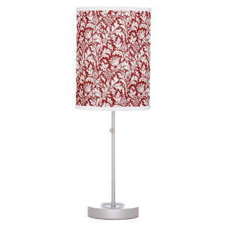 William Morris Thistle Damask, Dark Red & White Desk Lamps