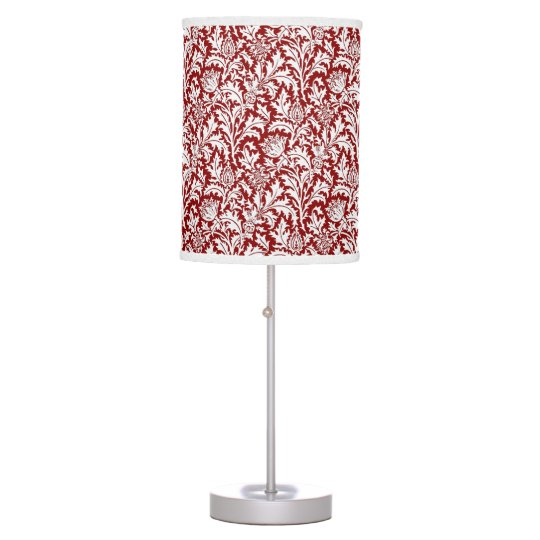 William Morris Thistle Damask, Dark Red & White Desk Lamps