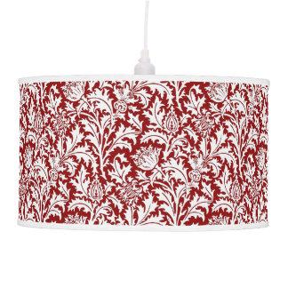 William Morris Thistle Damask, Dark Red & White Pendant Lamp
