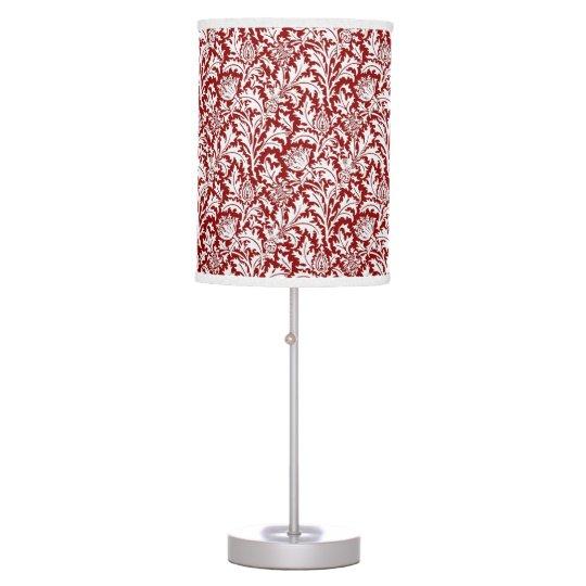William Morris Thistle Damask, Dark Red & White Table Lamp