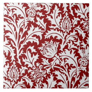 William Morris Thistle Damask, Dark Red & White Tile