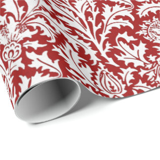 William Morris Thistle Damask, Dark Red & White Wrapping Paper