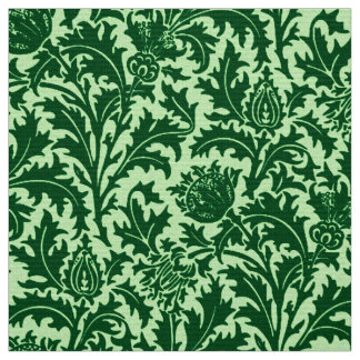 William Morris Thistle Damask, Emerald Green Fabric