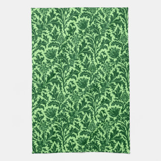 William Morris Thistle Damask, Emerald Green Kitchen Towel
