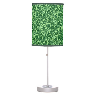 William Morris Thistle Damask, Emerald Green Table Lamp